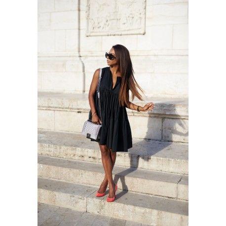 Fekete, bőfazonú vászon ruha, wmwear