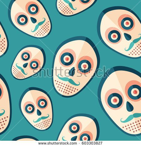Hipster scary mask flat icon seamless pattern. #vectorpattern #patterndesign #seamlesspattern