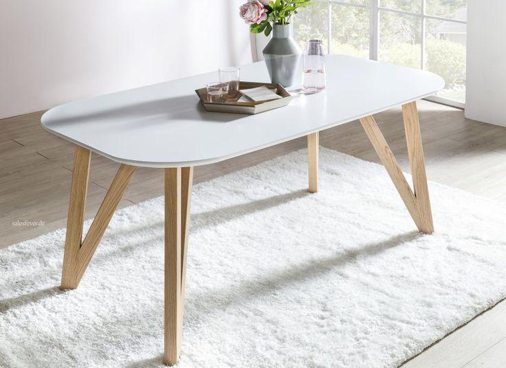 Esstisch 180x90 Cm Aino Weiss Holz Stabile Beine Tisch In 2020