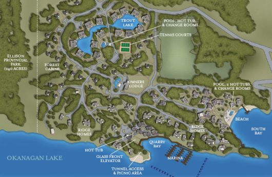 Map of the Outback Resort. Includes neighbourhoods and amenities.