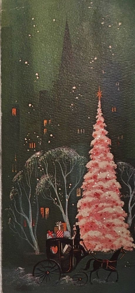 VINTAGE MC COACH FULL OF GIFTS TALL BUILDINGS PINK GLITTERED TREE CHRISTMAS CARD