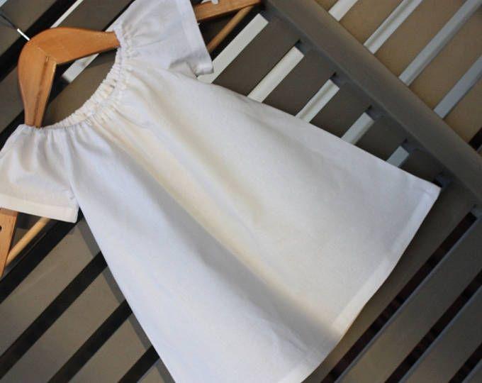 Toddler Dress | Cotone bianco | Le ragazze vestono | Vestito da partito | Flowergirl Dress | Contadino vestito | Fatto in Australia