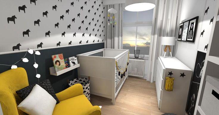 pokoje dla dzieci, pokój dla dziewczynki. Tapeta w koniki, motyw chmurki, girlanda, obrazki na ścianach, farba tablicowa