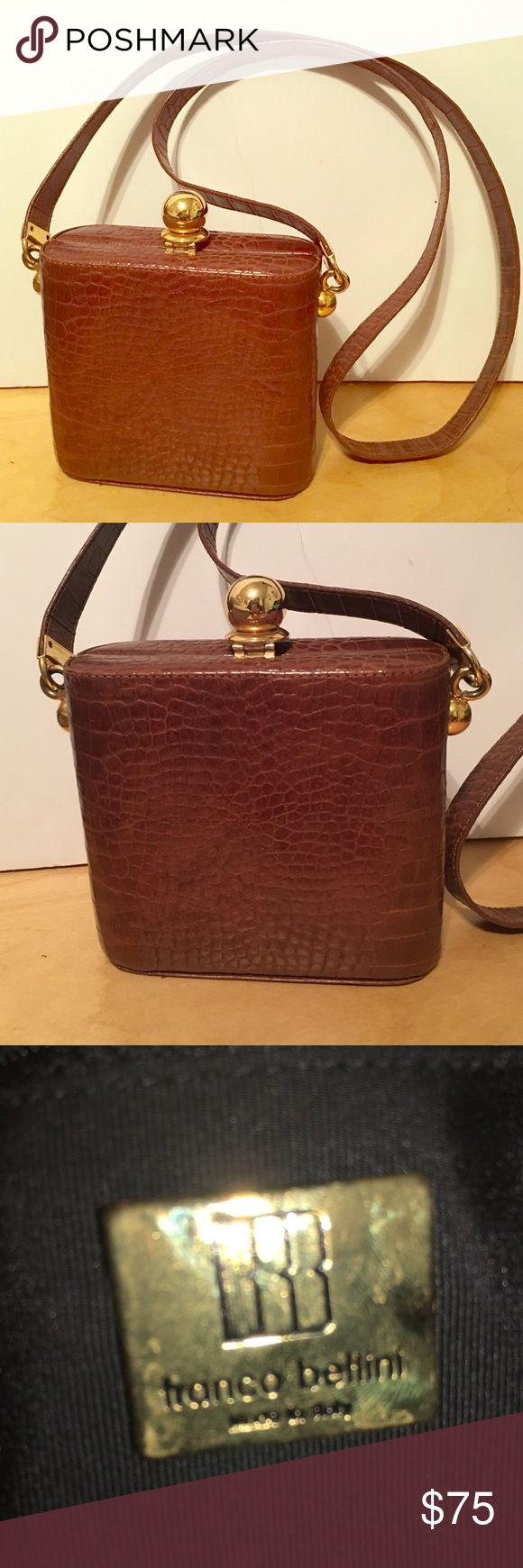 Franco Bellini Vintage Flask Gold Leather Purse Beautiful leather Flask purse with stunning gold hardware by Franco Bellini. In great preloved condition. Very unique! Franco Bellini Bags Clutches & Wristlets