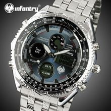 INFANTRY Dual Time Watches Men Stainless Steel Strap Quartz Watch Back Light Military Wristwatches Alarm Clock Relojes Hombre(China (Mainland))