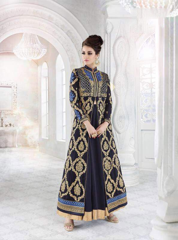 Navy #Blue Georgette #Long #Achkan Style #Salwar #Kameez #nikvik  #usa #designer #australia #canada #freeshipping #suits #pakistani