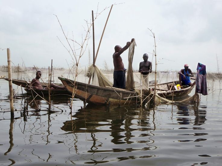 The Tofinu people on Lake Nokoue near Cotonou, Benin, earn most of their incomes from fishing.