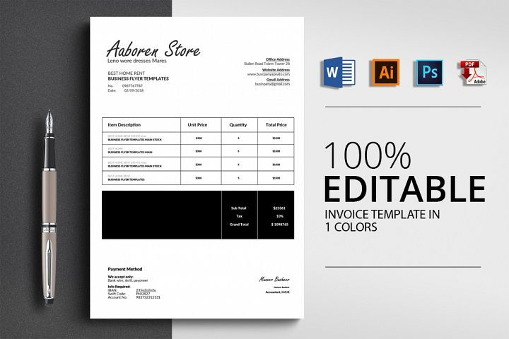 Word Format Invoice Template 154340 Card Making Design Bundles Invoice Template Templates Letterhead Template