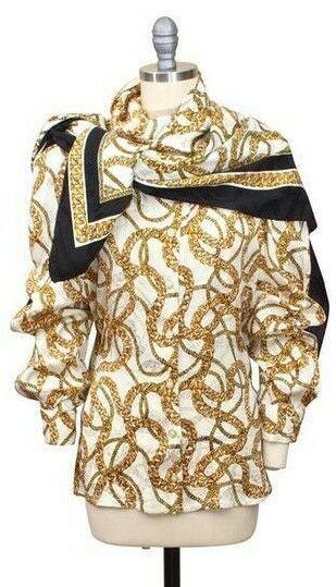 b70a45542 Trixi Schober Silk Blouse 10 US 42 EU Chain Print w Scarf Germany VTG  Designer #TrixiShober #Blouse #Business