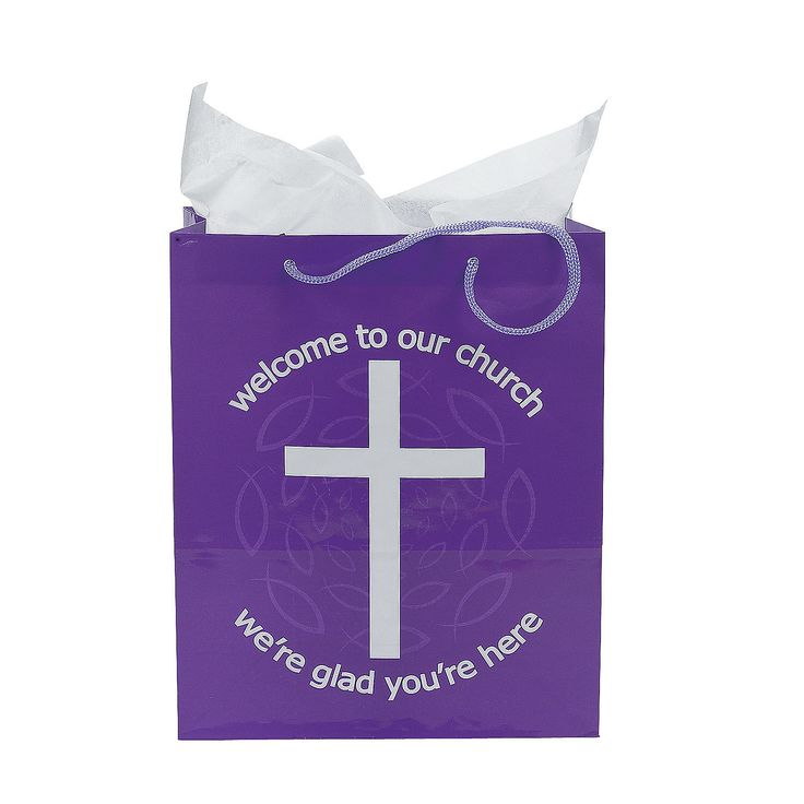 """""""Welcome To Our Church"""" Bags - OrientalTrading.com I ordered some of these."""
