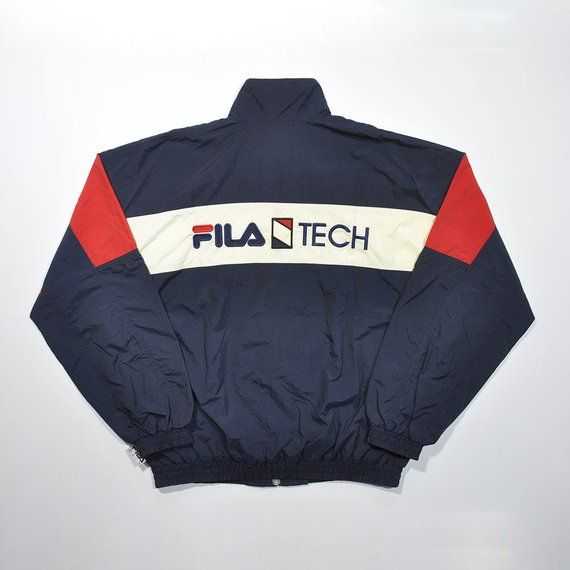 ba6aae7c0ae0 Rare Vintage 80s 90s FILA TECH Big Logo Windbreaker Jacket   FILA Italia  Spray Shell Sport
