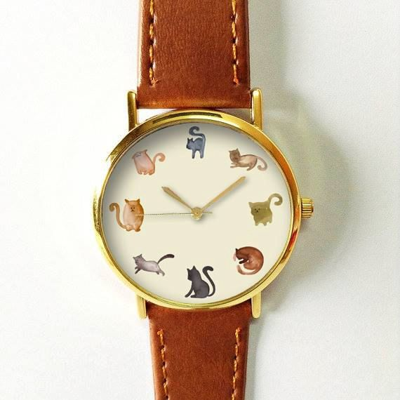 Cats Watch Watches for Men Women Leather  Ladies Jewelry Accessories Gifts Spring Fashion Personalized Unique Cats All the Time Pet Lovers