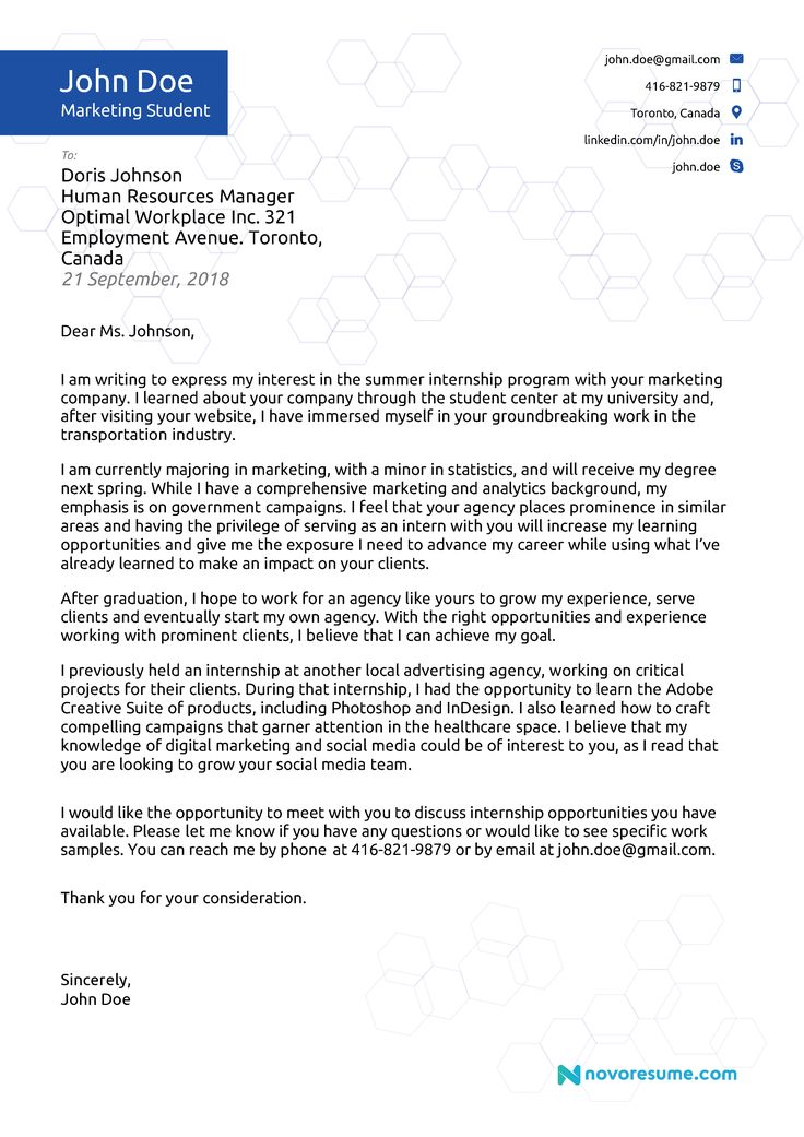 cover letter example for a student Cover letter for