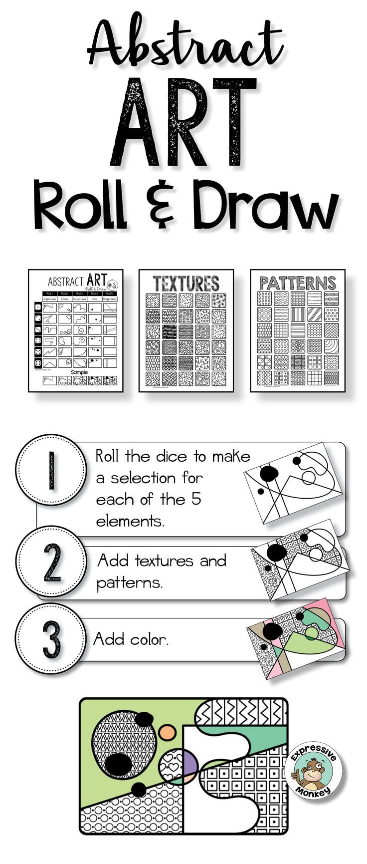 Roll & draw an abstract work of art. This is an easy way to get your abstract art project started.