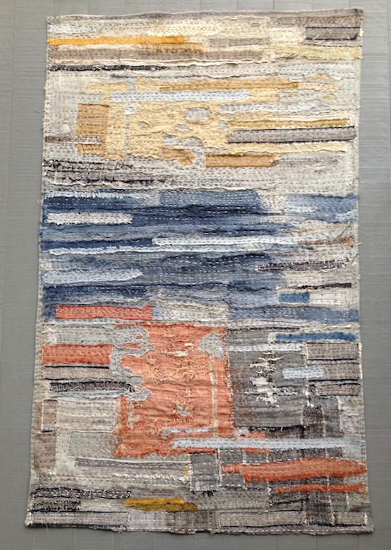cloth made with pure raw silk scraps, hand stitched on linen.  to lay down or hang on a wall. size 96 x 60 cm.  the back is left 'unfinished' and shows a Boro-style sachiko stitching.