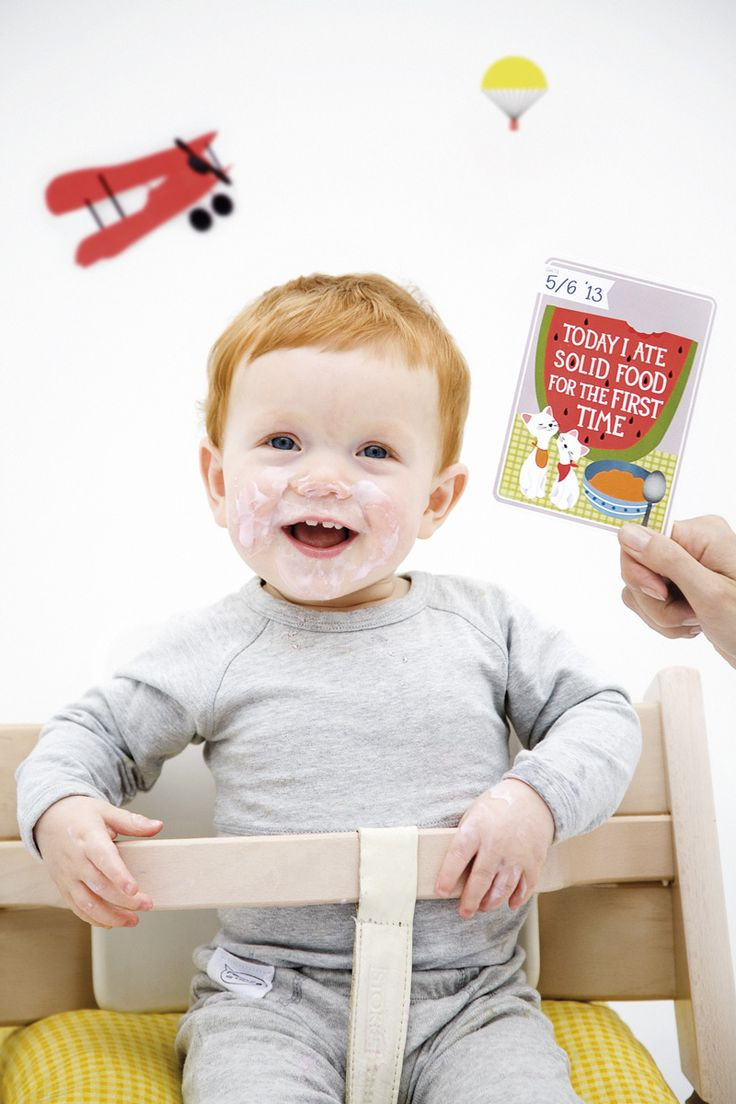 Today I had solid food for the first time. MILESTONE Baby Cards. Set of 30 cards to capture your baby's first year in weeks, months and big events. www.milestonecards.com