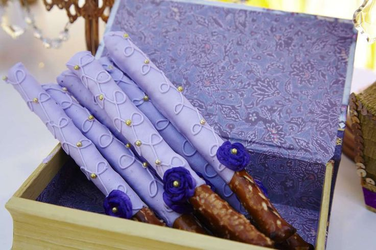 Purple pretzel rods at a Sofia the First birthday party! See more party planning ideas at CatchMyParty.com!