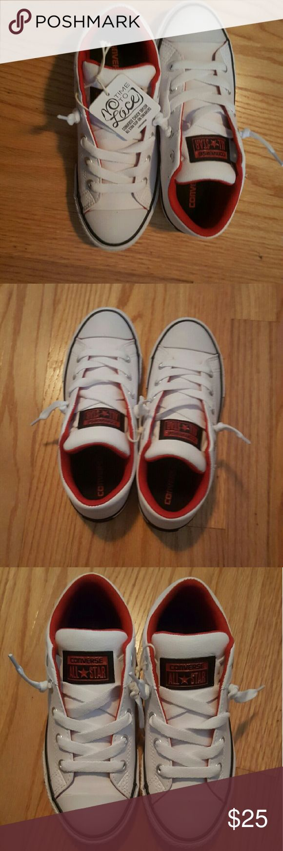 White leather Converse White leather with red insole and navy blue trim Converse Shoes Sneakers