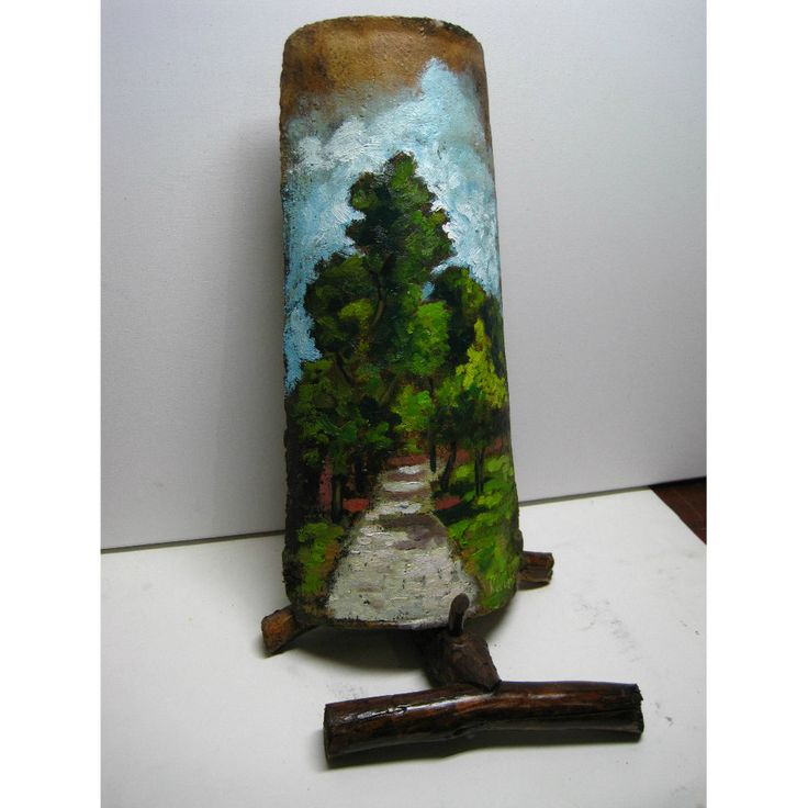 Original oil painting landscape on ceramic roof tile. 19th century handmade greek ceramic roof tile. Pine Forest. by ArcadiaEgoStudio on Etsy