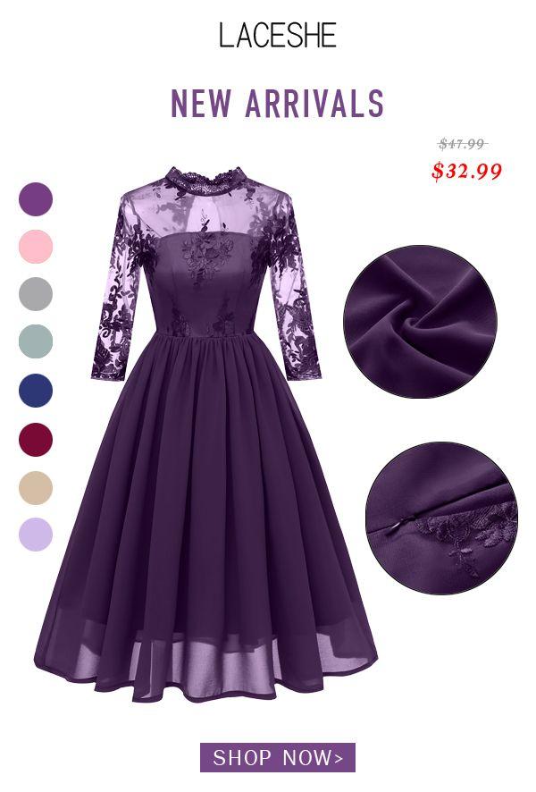Purple style lace dress! Pick up this chic fantastic lace dress bfa715c3e1e7