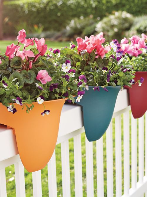 Put these Rail Planters on even the narrowest railing from 2x6 down to 2x2and add color spots to your yard. Get a set for your deck today!