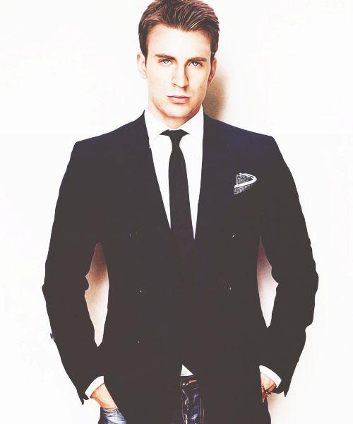 Captain America in a suit?   Perfection  Chris Evans