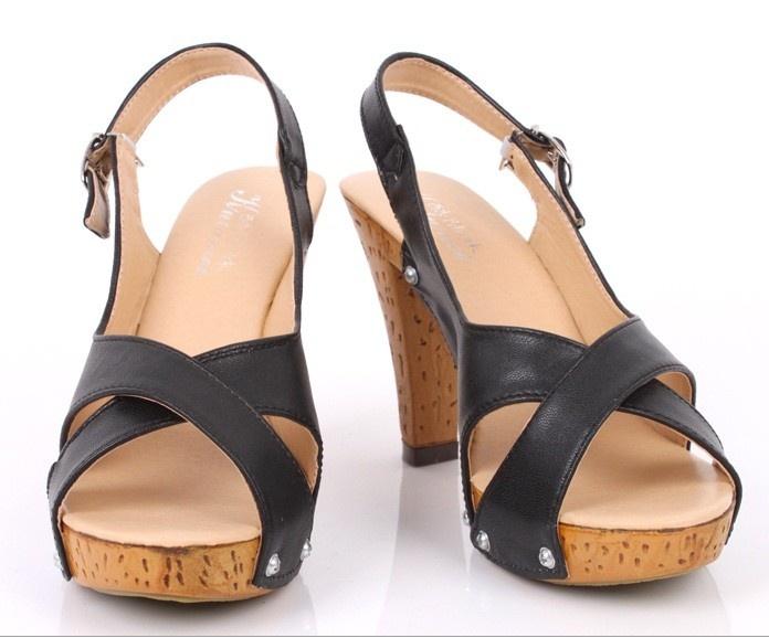 $ 39.99     PU Leather Upper High Heel Sandals Fashion shoes