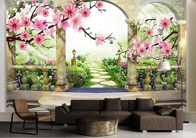 Custom 3d Wall Murals Background Peach Landscape 3d Stereoscopic Wallpaper For Living Room Bedroo 3d Wall Murals Living Room Wall Wallpaper Wall Murals Bedroom