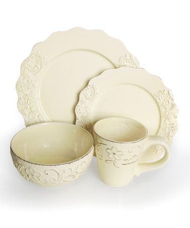 Take a look at this Bianca Petals Cream Dinnerware Set by Jay Import on #zulily today!
