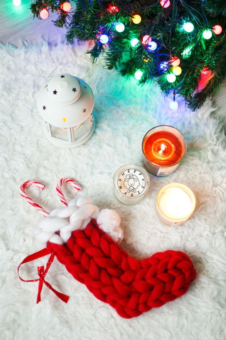 Chunky Knit Santa Sock