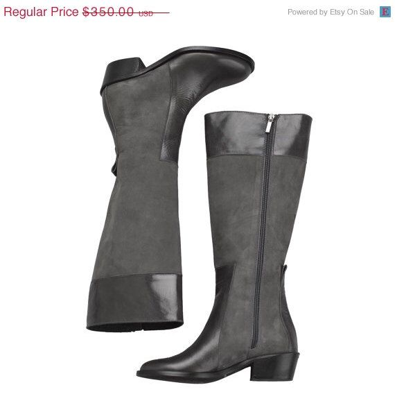 15% off - Tall Leather Riding Boots  - Knee High Grey  Leather Boots  - Womens grey leather and dark gray wool felt Boots by NormanAndBella on Etsy https://www.etsy.com/listing/216523149/15-off-tall-leather-riding-boots-knee