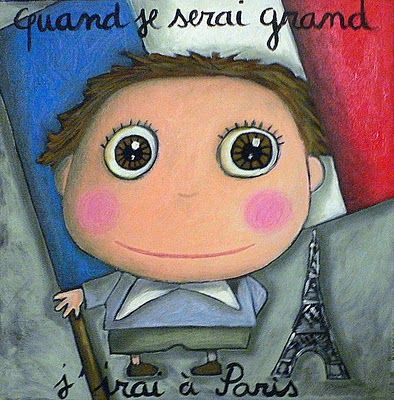 """Saw these in France.  Soo cute! """"When I grow up, I'll go to Paris"""""""