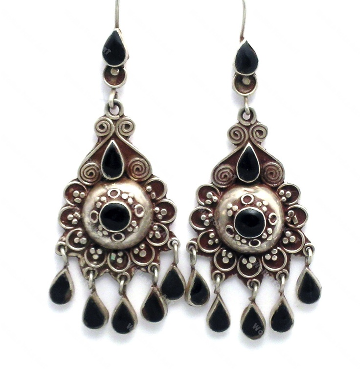 Afghanistan Silver and Onyx Earrings - World Folk Art - Find Stained Gourds, Metal Wall Hangings, and more