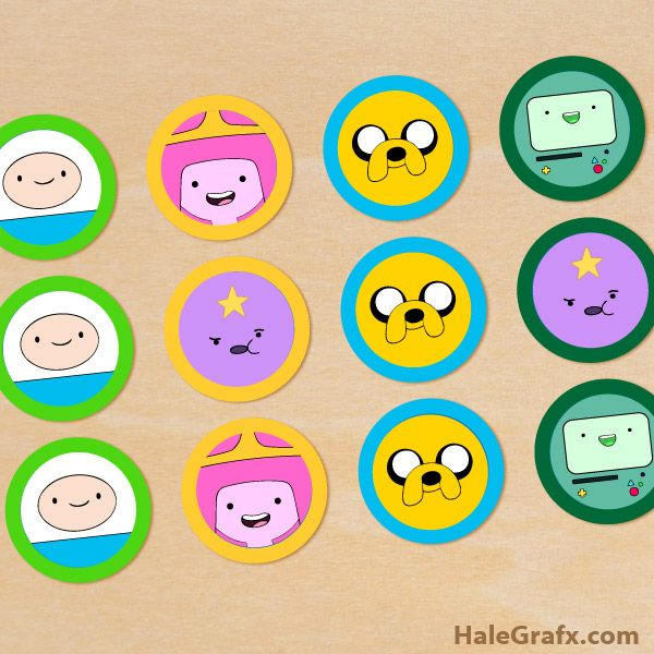 FREE Printable Adventure Time Cupcake Toppers
