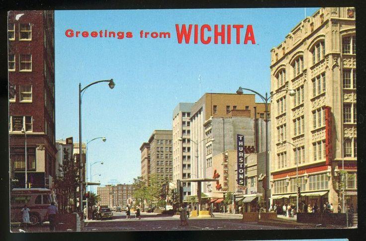 Business section wichita kansas chrome postcard wichita