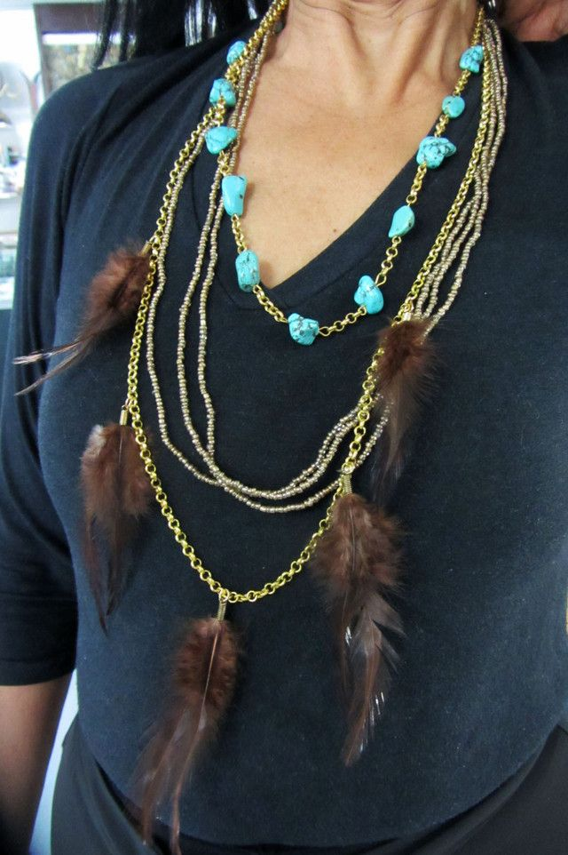 TURQUOISE BROWN FEATHER STYLE NECKLACE QT175