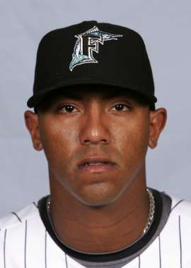 This is a 2008 file photo of Marcos Carvajal of the Florida Marlins baseball team. This image reflects the Marlins active roster as of Friday, Feb. 22, 2008 when this photo was taken. (AP Photo/Rob Carr)