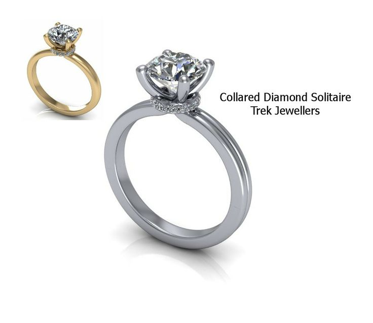 Collared Diamond Solitaire. Available in your choice of gold or platinum metal, and your choice diamond size.  Trek Jewellers 705-673-0408