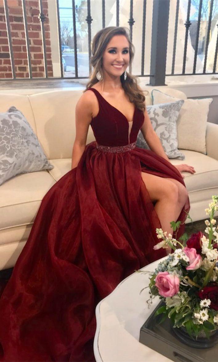 Princess burgundy long prom dress prom dress elegant v neck