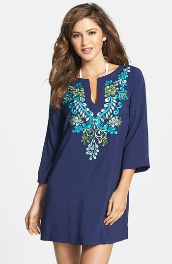 Laundry by Shelli Segal Embroidered Cover-Up Tunic available at #Nordstrom