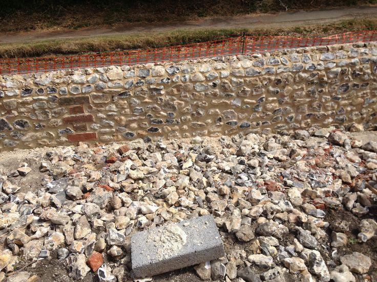 Flint wall. Effingham, Surrey.