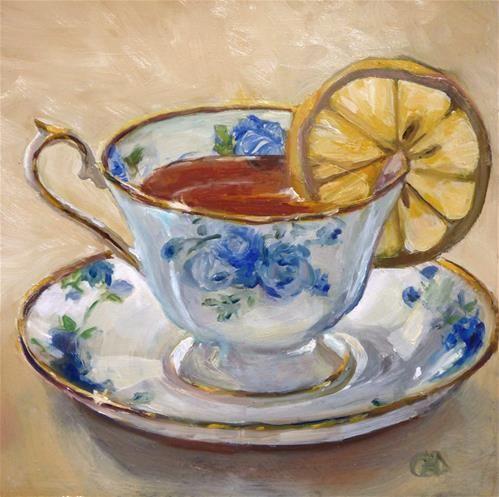 "Daily Paintworks - ""Lemon Tea"" - Original Fine Art for Sale - © Christine Angelotta Dixon"