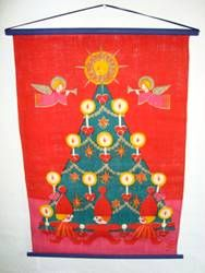 Retro Christmas danish textile calendar for parcels. From SÖDAHL signed JS (Hans Jürgen Schobel Södahl) - 1970es. 42 x 63 cm. Material is jute. #retro #danish #christmas #textile #1970 #dansk #jul #tekstil #julekalender #soedahl