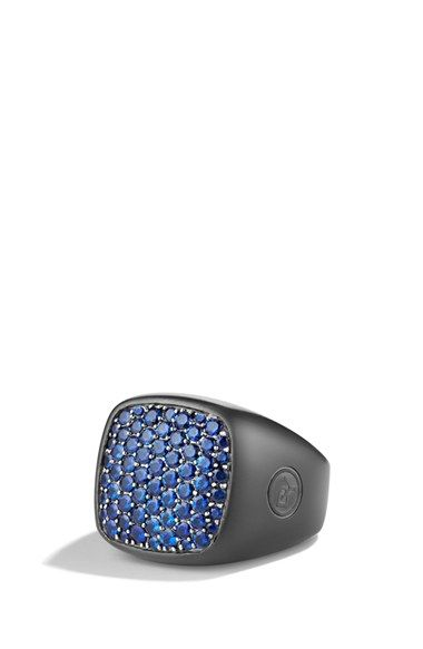 David Yurman 'Pavé' Signet Ring with Sapphires available at #Nordstrom