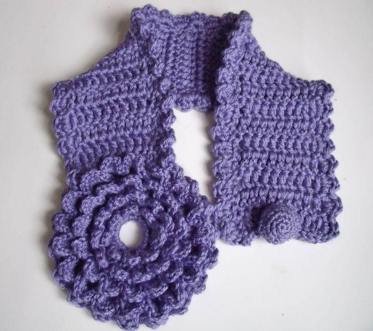 Free Crochet Flower Scarf | PDF Pattern Crochet Multi petal lavender flower scarflette
