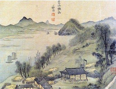 (Korea) 종해청조, 경교명승첩 by Gyeomjae Jeong Seon. ca 18th century CE. color on paper.