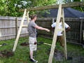 so while we're building the kiwi trellis over the front porch, why not build a swingset for the back too?