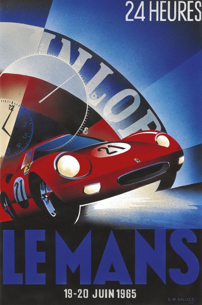 PEL205: '1965 Le Mans 24 Hours' by Emilio Saluzzi - Vintage car posters - Art Deco - Pullman Editions - Ferrari