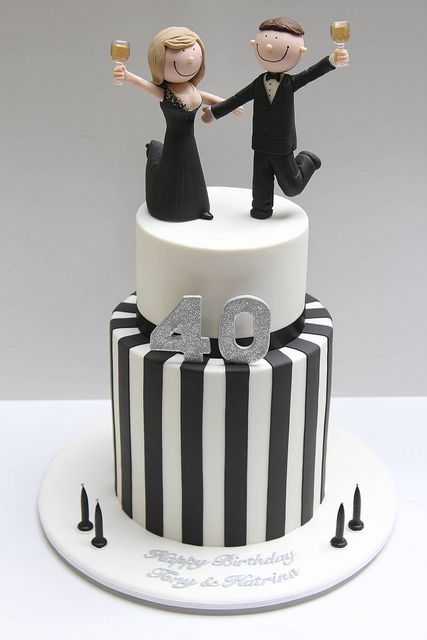 Black and white 40th birthday cake by Creative Cakes by Julie, via Flickr