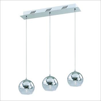 Vinci Three Light Glass Pendant in Shiny Silver